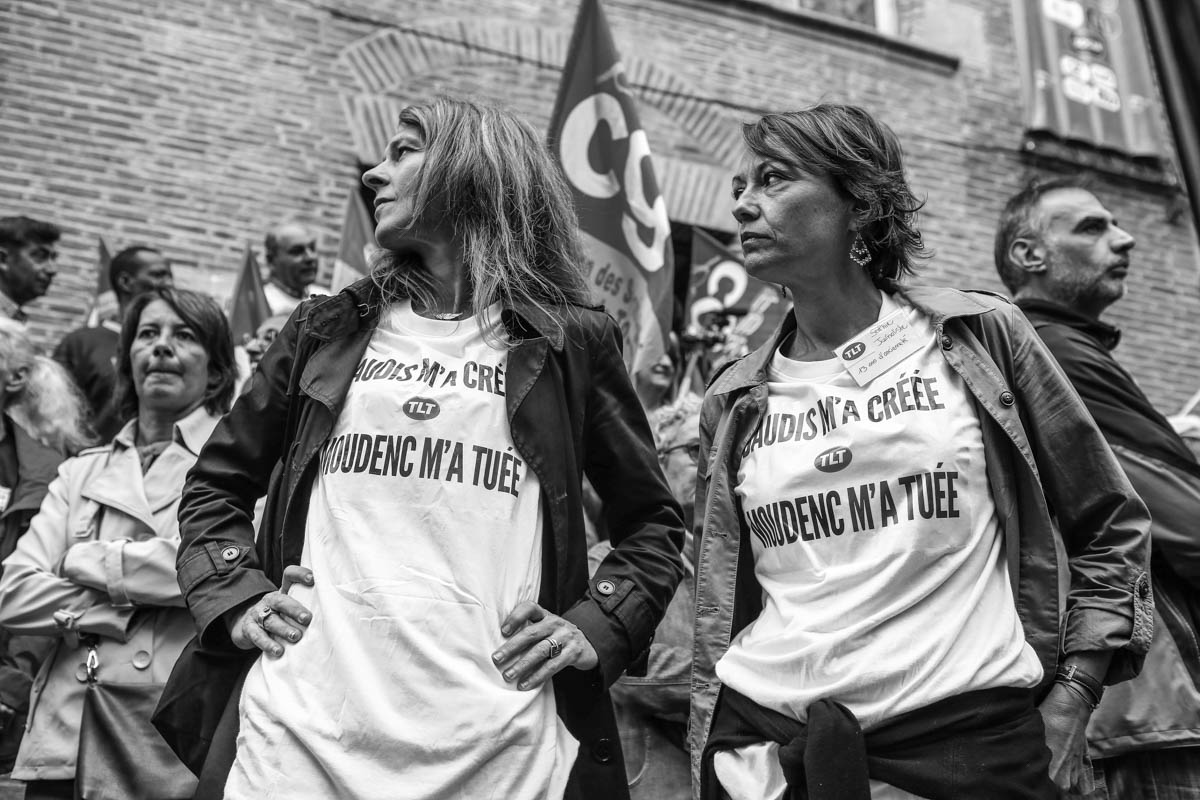 Employees of the first French local channel Télé Toulouse, TLT , demonstrated outside the town hall of Toulouse for the survival of the chain that will be placed in compulsory liquidation  July 3, 2015. Toulouse, FRANCE-19/06/15