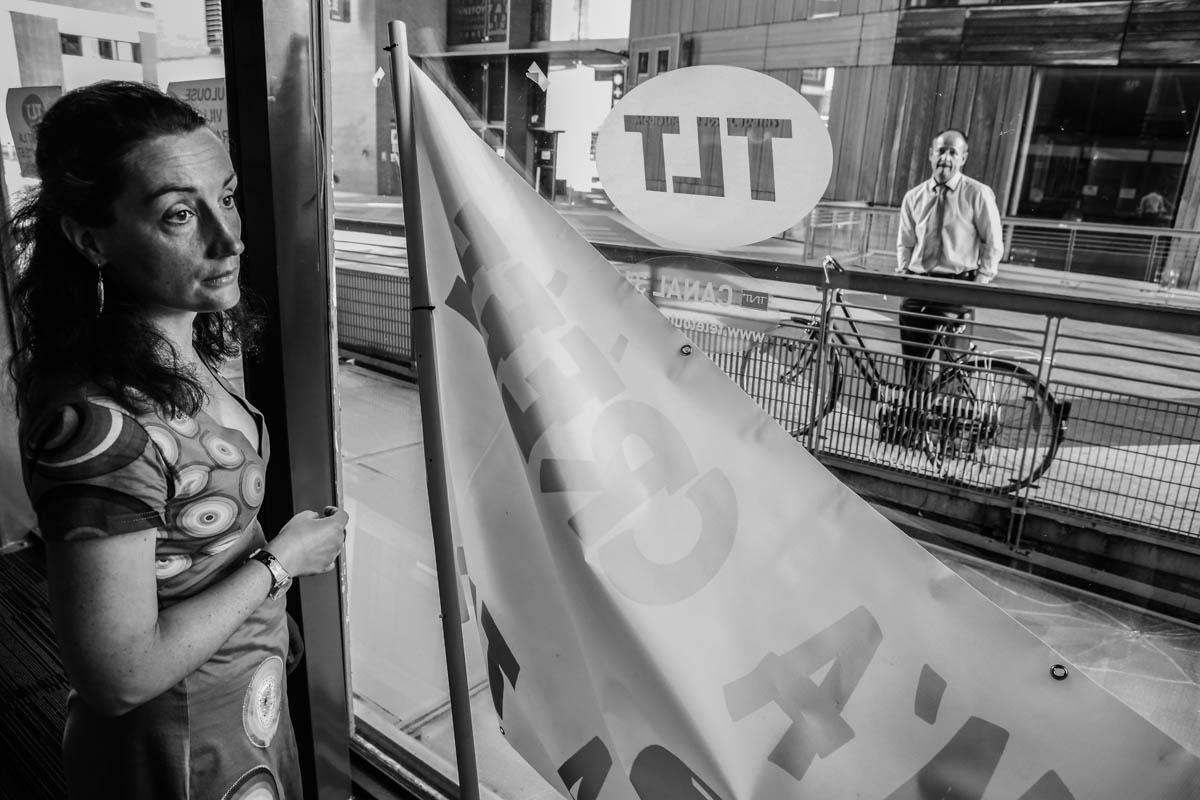 Dans les locaux de Tele Toulouse, TLT, la premiere chaine locale francaise lancee en 1988 est place en liquidation judiciaire le 3 juillet prochain. Toulouse, FRANCE-24/06/2015