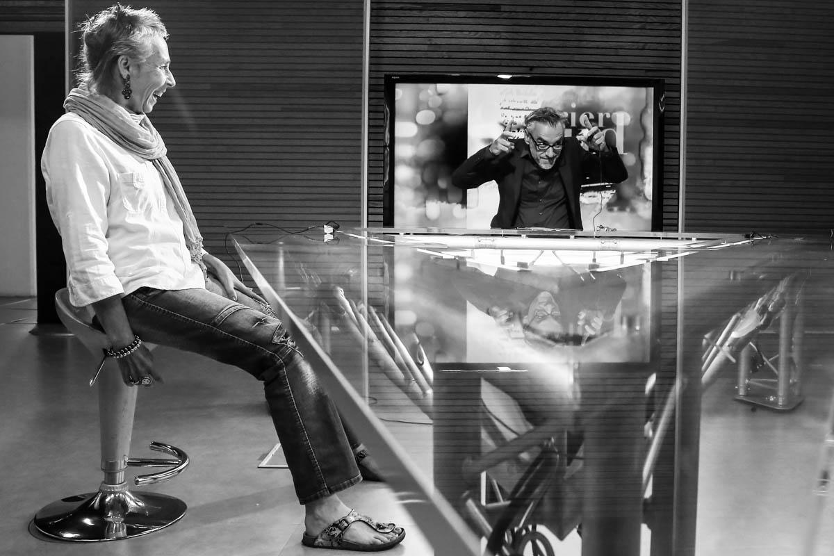 Dans les locaux de Tele Toulouse, TLT, Ici Greg Lamazere animateur de la premier heure. La premiere chaine locale francaise lancee en 1988 est place en liquidation judiciaire le 3 juillet prochain. Toulouse, FRANCE-24/06/2015