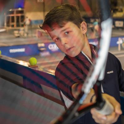 César Bouchelaghem espoir du tennis, ici lors du Tournoi des As, il est aussi lycéen de 1re S à seulement 12 ans et demi. 23/01/2018, Tarbes-France.