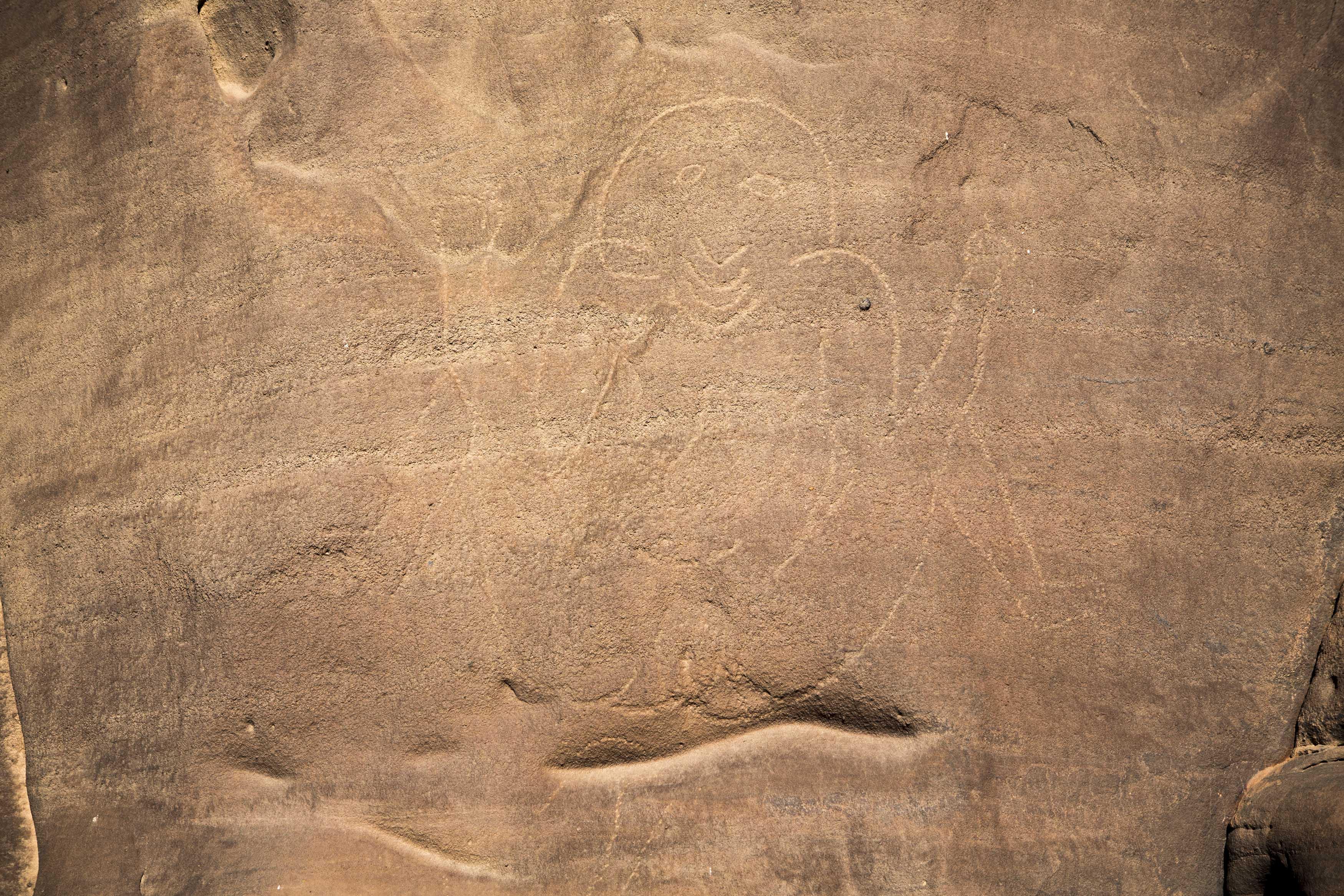 Cave engraving depicting a woman on a wall in the Tadrart.The Tadrart (200 km southeast of Djanet) is located in the south of the Tassili N'Ajjer National Park and is part of one of the most beautiful desert in the world but above all the central Sahara.From huge canyons to cliffs carved with rocky peaks of various shapes mix with dunes of colored sand with yellow and red reflections. The Tadrart, Algeria-February 6, 2017.Gravure rupestre représentant une femme sur une paroi dans la Tadrart. La Tadrart (200 km au sud-est de Djanet) se situe dans le sud du Parc National du Tassili N'Ajjer et il fait partie d'un des plus beau désert au monde mais avant tout du Sahara central. D'immenses canyons aux falaises sculptées avec de pitons rocheux aux formes les plus diverses  se mélangent avec des dunes de sable coloré aux reflets jaune et rouge. La Tadrart,, Algérie-6 février 2017.